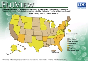 US Map H1N1 Flu Distribution 31Jul09.  Source: CDC