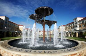 TCU Frog Fountain and Campus