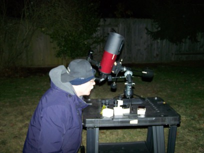David in the Backyard Observing with his Orion Apex 90mm Maksutov-Cassagrain Telescope