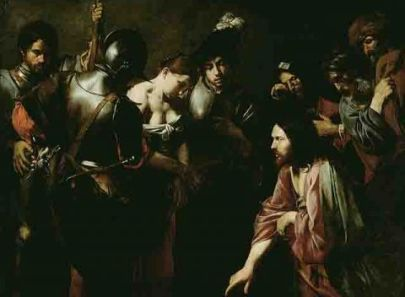 Christ and the Adultress, Valentin de Boulogne, 1543.  Copyright: Getty Trust, Getty Images